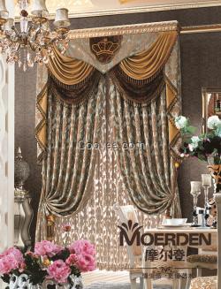 别墅客厅窗帘加高 欧式奢华高档加厚提花