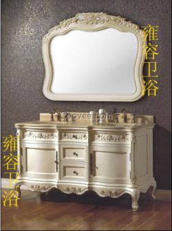 雍容欧式仿古浴室柜橡木材质进口大理石台面