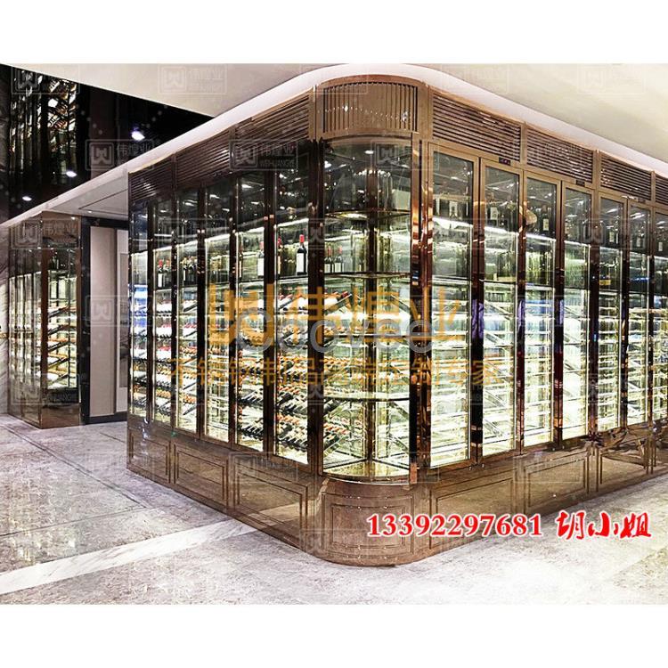 玫瑰金不锈钢酒柜餐厅葡萄酒展示架欧式红酒柜专用