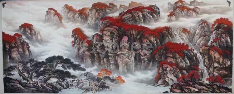 写意仙鹤风景油画