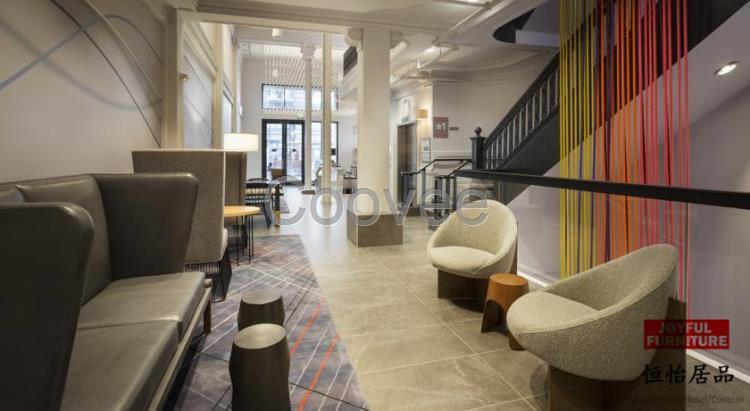 深圳酒店大堂公共区域家具接待真皮沙发休闲椅子布艺沙发组合沙发