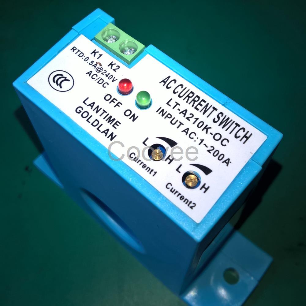 交流电流感应开关上下限电流控制开关器 产品概述 电流感应开关是为了安全、简捷、方便监控或检测用电设备电流,利用电流的电磁互感原理,采用了先进的无源自供电技术研制而成的开关量输出检测、监控、保护报警型产品。 A210K-OC产品是上下限检测的电流感应开关,综合应用了无源自供电(或称:干节点技术)、电子式无触点开关、LED红绿灯电流状态显示以及一体化设计,使得应用安装简捷方便;应用多圈精密调节器旋扭,使产品性能更加稳定;采用自动换档技术,使检测电流从1-200A之间连续可调。采用电磁互感技术,不仅使产品的功耗