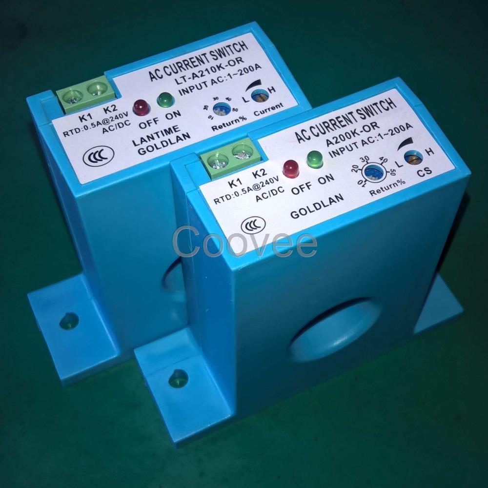产品概述 电流感应开关是为了安全、简捷、方便监控或检测用电设备电流,利用电流的电磁互感原理,采用了先进的无源自供电技术研制而成的开关量输出检测、监控、保护报警型产品。 A200K系列、A210K系列产品综合应用了无源自供电(或称:干节点技术)、电子式无触点开关、LED红绿灯电流状态显示以及一体化设计,使得应用安装简捷方便;应用多圈精密调节器旋扭,使产品性能更加稳定;采用自动换档技术,使检测电流从1-200A之间连续可调。采用电磁互感技术,不仅使产品的功耗极其微小、解决了大电流时接触点的发热问题,还使得输入