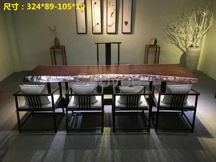 新中式实木家具黑檀大板巴花大板会议桌办公桌茶桌茶几