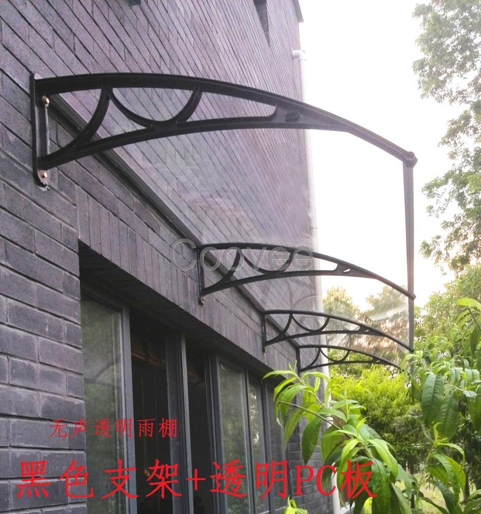 铝合金阳台窗户雨棚透明静音雨篷pc耐力板露台棚遮阳棚庭院雨搭