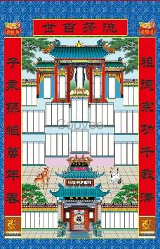 专业设计如图河南版供奉家堂挂画布料年画祖宗世袭图