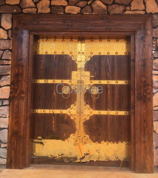 老榆木古别墅庭院大门乡村原木门进户双开门