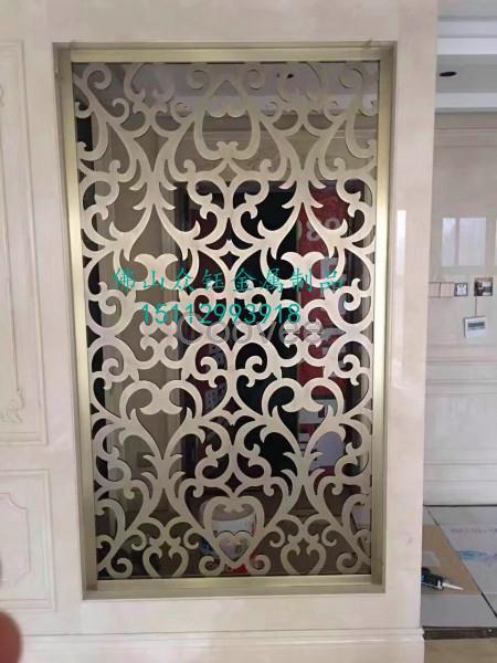 铝艺屏风铝板镂空雕花屏风欧式精雕镀k金屏风隔断家装