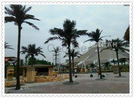 混合均匀,在作好的椰子树模具上作出各种立体花纹图案,让其自然渗透