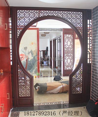 广州受欢迎的中式雕花拱门中式拱形隔断制中式月亮门隔断厂家图片