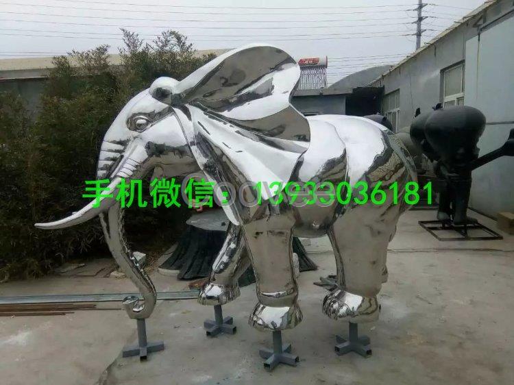 不锈钢大象雕塑镜面大象雕塑城市动物雕塑
