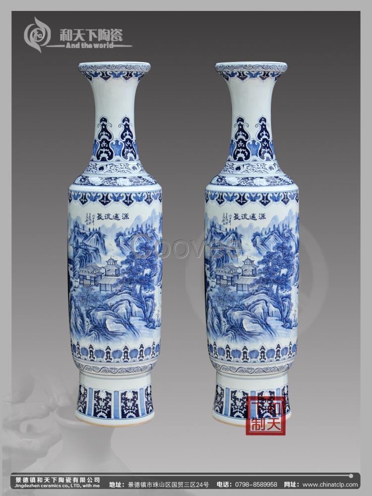 景德镇陶瓷落地大花瓶欧式客厅装饰1.2米创意大号青花瓷器摆件