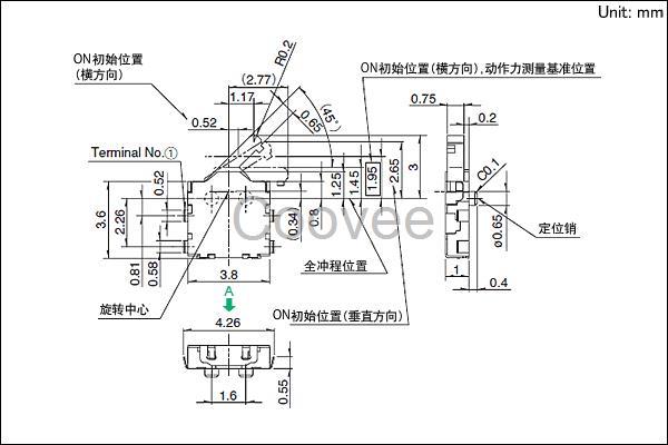 检测开关SPVN系列 产品编号SPVN110107 电路数 1 接点数 1 端子形状 For PC board (Reflow) 动作力 0.35N max. 扳手的长度 Standard 操作方向 Right 定位销 有 使用温度范围 -40 to +85 max额定/min额定(电阻负载) 1mA 5V DC/50A 3V DC 电性能 接触电阻(初期/寿命后) 2 max./5 max.