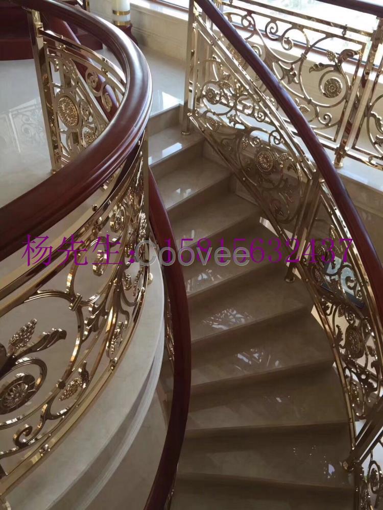 精品艺术雕刻铝艺雕花楼梯护栏欧式别墅艺术楼梯栏杆