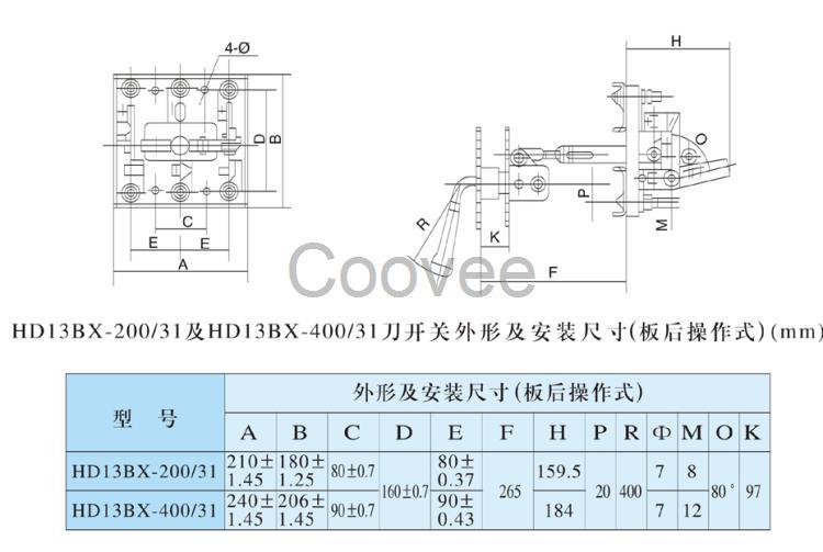 HD13BX-100/31开启式单投刀开关 适用于交流50Hz、额定电压至380V、直流电压至380V,直流至440V;额定电流至1500A的成套配电装置中,作为不频繁地手动接通和分断交、直流电路或作隔离开关用。其中: 1、中央手柄式的单投和双投刀开关主要用于变电站,不切断带有电流的电路,作隔离开关之用。 2、侧面操作手柄式刀开关,主要用于动力箱中。 3、中央正面杠杆操作机构刀开关主要用于正面操作、后面维修的开关柜中,操作机构装在正前方。 4、侧方正面操作机械式刀开关主要用于正面两则操作、前面维修的开关柜