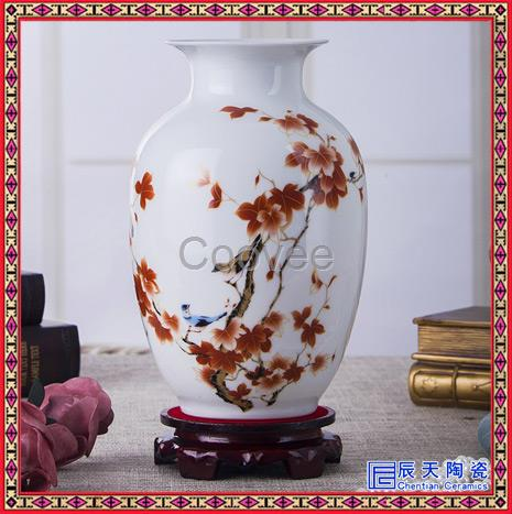 景德镇陶瓷器大师手绘粉彩瓷花瓶现代时尚摆件客厅