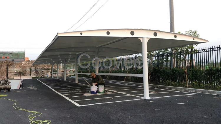 遂宁膜结构车棚材料南充张拉膜车棚方案广安自行车雨棚案例图设计