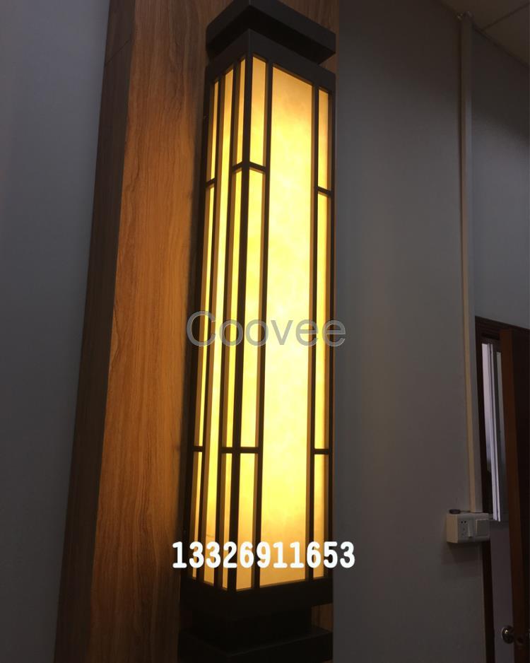 定制1米1.2米壁灯中式简约方形壁灯方管焊接不锈钢壁灯发光柱